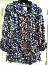 Chanel 10C Tweed LESAGE Multicolor Coat Crystals Gripoix buttons FR50- FR44 $9K