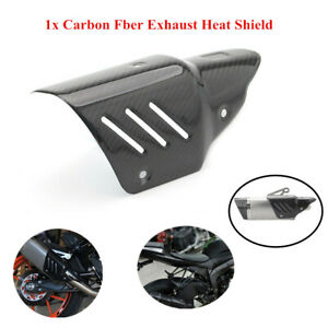 Motorcycle Exhaust Mid Link Pipe Cover Protector Heat Shield Kits Carbon Fiber