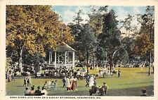 D93/ Hagerstown Maryland Md Postcard c1910 City Park Bandstand Crowd Sunday