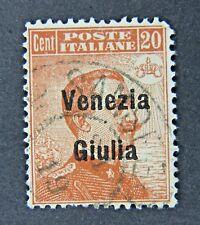Italian 20 Cent Postage Stamp with Overprint, VENEZIA GIULIA, circa 1918