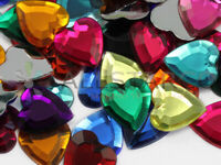 15mm Assorted Colors Flat Back Heart Acrylic Rhinestones Gems Crafts 200 Pieces