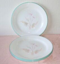 Corelle THREE DREAMS 4 Plates Side Dessert Bread Salad Lilies Peach Pink Aqua