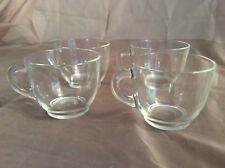 4 Federal Glass STAR CLEAR CUPS Expresso Snack Tea Coffee Vintage Hard to Find