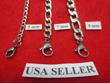 """5/7/9 MM Men, Boys 7-40"""" Stainless Steel Silver Figaro Chain  Necklace"""