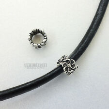 2PC Antiqued Sterling Silver Floral Heishi European Charm Bead Spacer 8mm #33086