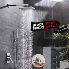"12""Brushed Nickel Rain Shower Combo Set Luxury Shower Head System W/Hand Shower"
