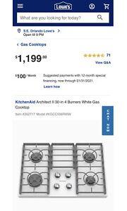"KitchenAid KGCC506RWW Architect II 30"" White Glass Burner Gas Cooktop BRAND NEW"