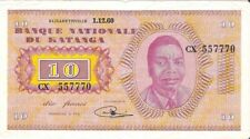 Katanga Congo 10 Francs 1-12-1960 P-5 prefix CX (6051) VG