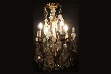 Lustre à pampille, cristal et bronze, XIXème / Chandelier with pendant 19th