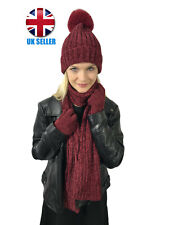 WOMEN'S CHENILLE RED HAT, SCARF AND GLOVES 3 PART SET *CHRISTMAS GIFT*