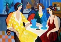 Gift Art Wall Itzchak Tarkay Oil Painting Woman Vase Handmade Canvas Home Decor