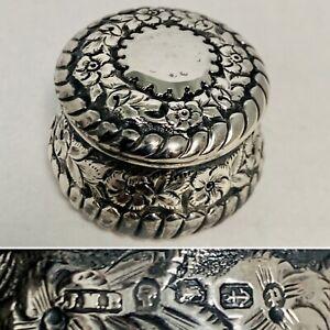 JOHN MILLWARD BANKS Sterling Silver Pill Snuff Box Repoussé 1899 UK Assay Marks