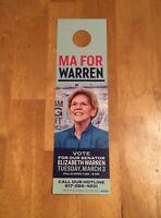 Elizabeth Warren 2020 President Door Hanger MA Vote Reminder March 3 2020