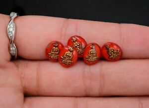 10 Glass Red Gold Oval Chinese Buddha Cabochon 10 x 8 mm Vintage