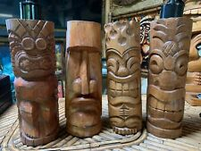 SET OF 4 Tiki Torches, Moai, Flame, Pineapple and KU Hawaii Smokin Tikis fx