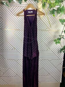 Robert Rodriguez Wine Striped Handkerchief Maxi Formal Velvet Stripe Size 6 Tie