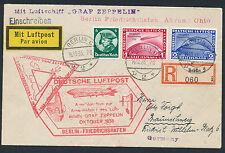 Zeppelin Chicagofahrt 1933 Einschreiben Anschlussflug nach Akron (S13021)
