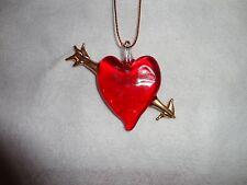 Hanging Cupid Heart Arrow Figurine of Blown Glass
