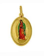 14K Real Yellow Gold Virgin Virgen De Guadalupe Color Picture Oval Charm Pendant