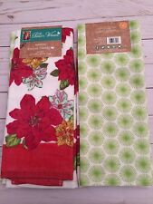 The Pioneer Woman Watercolor Poinsettia Kitchen Towel Sets (2), NWT