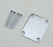 Universal Chrome Guitar Neck Plate For Fender Telecaster Stratocaster w/Screws