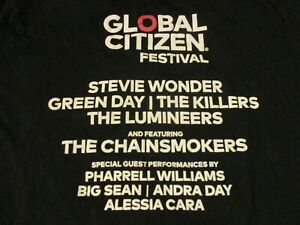 GLOBAL CITIZEN FESTIVAL 2017 T-SHIRT XL STEVIE WONDER GREEN DAY THE KILLERS RARE