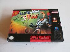 Earthworm Jim (Super Nintendo Entertainment System, 1994). Complete in Box. SNES