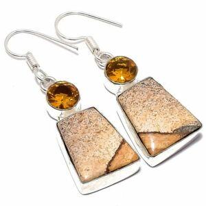 "Picture Jasper, Citrine Gemstone Ethnic 925 Sterling Silver Earring 2.0"""