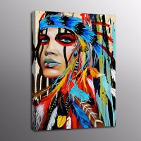 Home Decor Canvas Prints Oil Painting Feathered Indian Woman Picture Wall Art