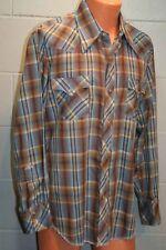 Mens L Vtg 70s Appaloosa Sawtooth Western  17-35 L/S Pearl Snap Blue Plaid Shirt