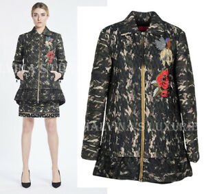 SAVE THE QUEEN COAT LONG JACKET FLORAL BROCADE DETAIL sz XS EXTRA SMALL