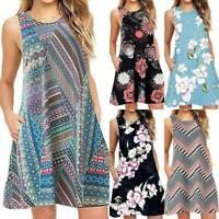 Plus Womens Summer Floral Strappy Mini Sundress Casual Sleeveless Beach Dress