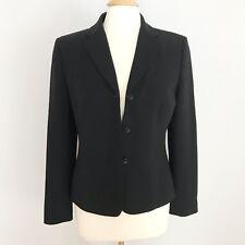 Ann Taylor Women's Blazer Jacket Size 6 Black Solid Career V Neck Buttons Lined