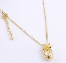 Halskette mit Anhänger Ananas goldfarben lang  60 + 5 VL