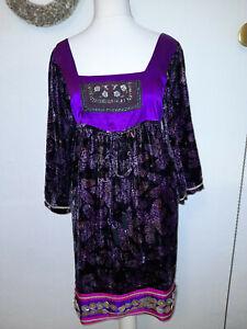 Wunderschöne Tunika Kleid von CUSTO Barcelona, Gr. 36, Samt Seide Stickerei