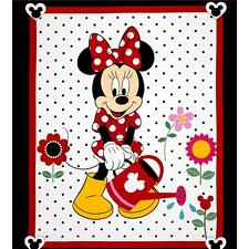 Disney Minnie Traditional Grow Your Own Panel White Cotton Quilting Fabric