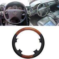 Black Leather Brown Wood Steering Wheel Cover 00-02 W210 E E320 97-02 C208 CLK