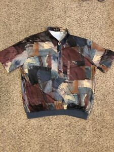 Vintage Alan Stuart Mens Banded Short Sleeve Polo Shirt Beige Red Blue XL