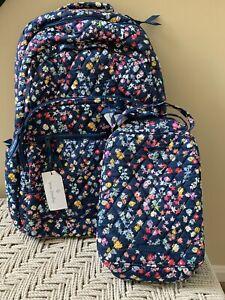 VERA BRADLEY Essential Large Backpack Scattered Wildflowers + Lunch Bag Set NWT