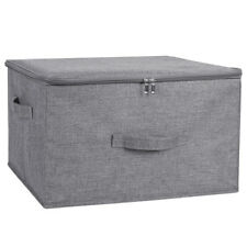 Foldable Storage Bin Cube Boxes with Zipper Lids Linen Fabric Container Basket