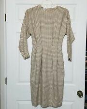 Ann Tjian Kennar Women's Vintage Dress ~ Sz 8 ~ Brown ~ Below Knee ~ Long Sleeve