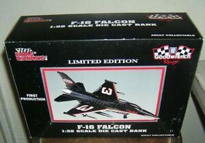 Dale Earnhardt Die Cast Metal Bank plane new in box F-16 Falcon 1:32 scale