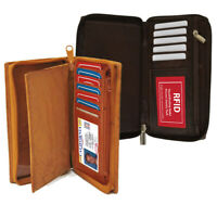 RFID Blocking Leather Checkbook Cover ID Card Holder Clutch Zip Wallet US SELLER