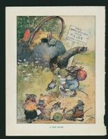 'A New Home' Mice Villa To Let Kettle  Ernest Aris 1920's  Vintage Print HL1.963