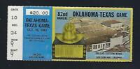 1987 NCAA OKLAHOMA SOONERS @ TEXAS LONGHORNS FOOTBALL TICKET STUB - COTTON BOWL