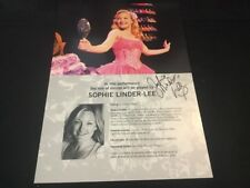 Wicked The Musical London SIGNED Sophie Linder-Lee Standby/Played By Sheet/Card
