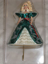 1996 Holiday Barbie Christmas Stocking Hanger Blonde Barbie With Green Dress