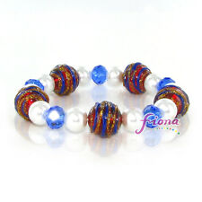 """Red White Blue Swirly Curl Glass Beaded Stretch Bracelet 7.50"""" new with Gift Bag"""