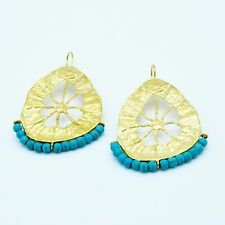 Aylas Turquoise earrings - Gold plated semi precious gemstone - Handmade in Otto