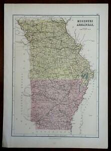 Missouri & Arkansas St. Louis Little Rock 1885 A. & C. Black uncommon map